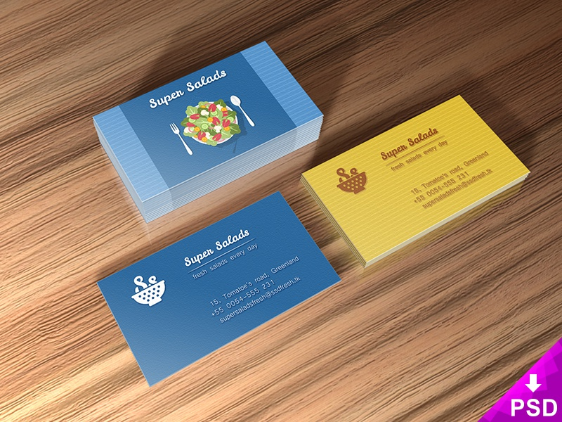 Super Salads Business Cards Mockup by Barin Christian - Dribbble
