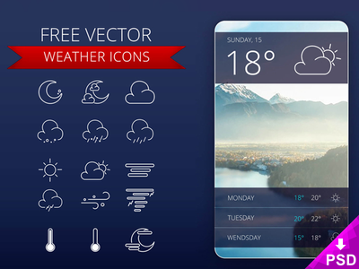 Weather Icons UI free download graphic resource photoshop design new ui icons weather