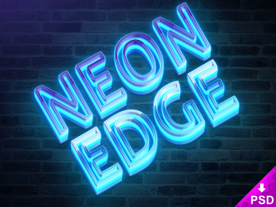 Neon Edge Mockup design photoshop psd mockup style text edge neon