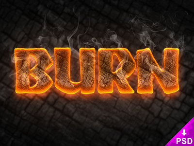 Burn Text Style Small Preview smartobject photoshop psd freebie layer style style text burn