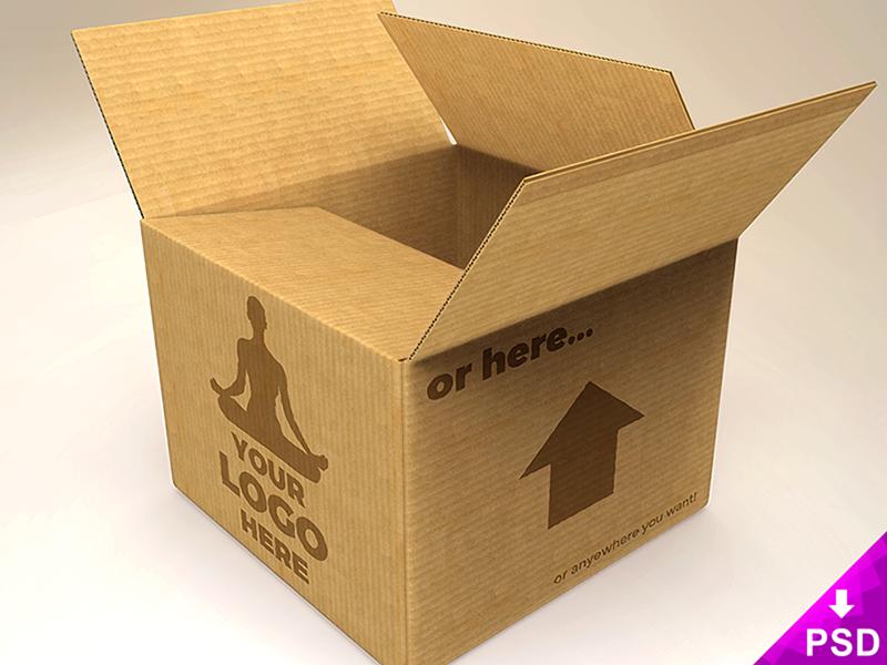 Cardboard Box Mockup Freebie PSD