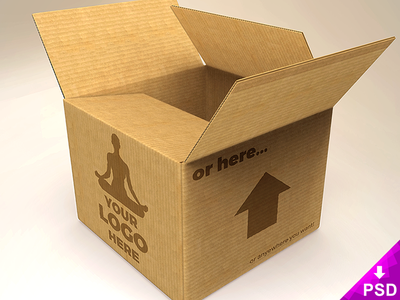 Cardboard Box Mockup Freebie PSD detailed res high objects smart smarobjects photohsop psd mockup freebie box cardboard