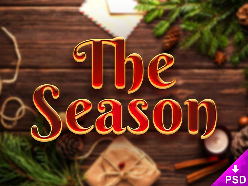 The Season Layer Style Freebie Psd layer style psd free gold red warm xmas christmas freebie holiday season