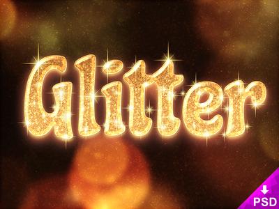 Glitter Text Style Freebie Psd