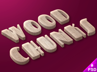 Wood Chunks Text Style objects. smart layer free photoshop psd style text freebie chunks wood