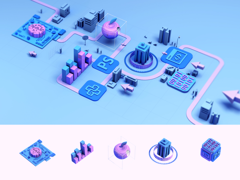 C4D | City and Icon for Internet city c4d 3d design 2020 illustration