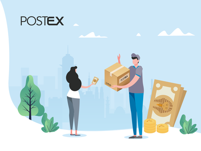 Postex illustration - Cash on delivery service postex branding courier vector graphic design illustraion egypt comingsoon delivery service delivery