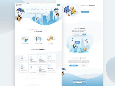 Postex Landing page concept website concept courier postex ux  ui landing page