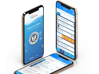 Hicaremockup blue ui ux designer ui medical app app ui  ux