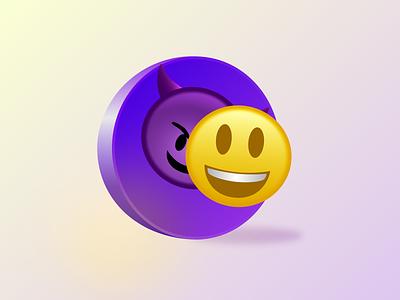 Friendemies 3d effect bright colors color icon 2d art vector illustration design
