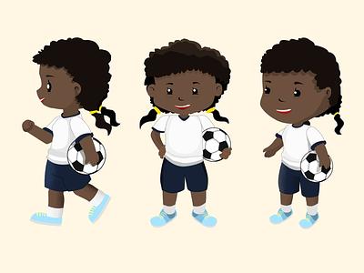Soccer Girl vector clean design chibi soccer bright colors 2d art high school illustration character design