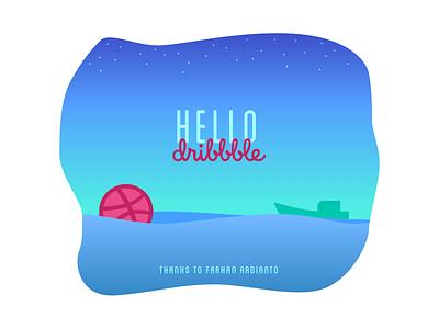 Hello Dribbble! debut typography vector design illustration