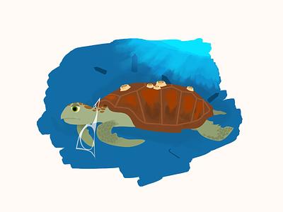 Lonely Turtle environment animal ocean design illustration