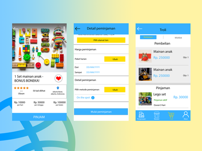 Toys rental & marketplace app - Mini Toys android app illustration design ui