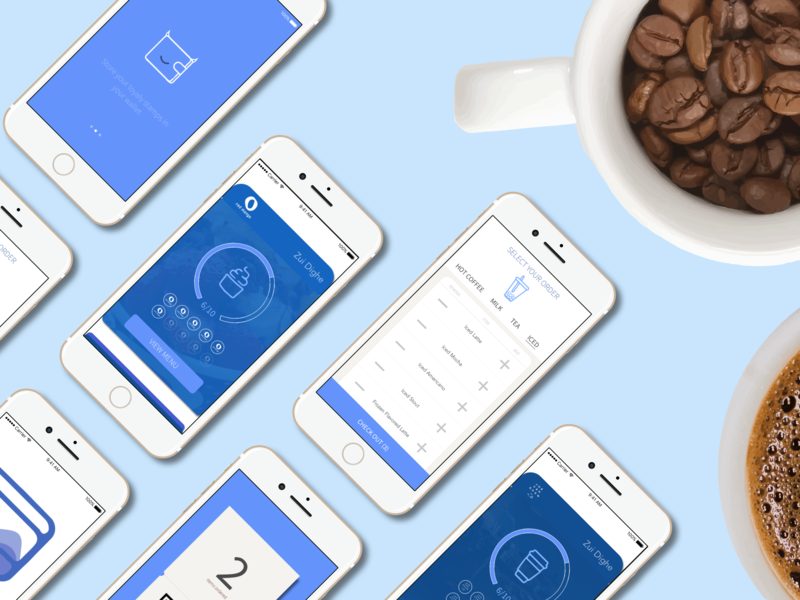 Coffee App Screens card loyalty card points loyalty sleek simple minimal ui design vendor ios clean coffee bean coffee