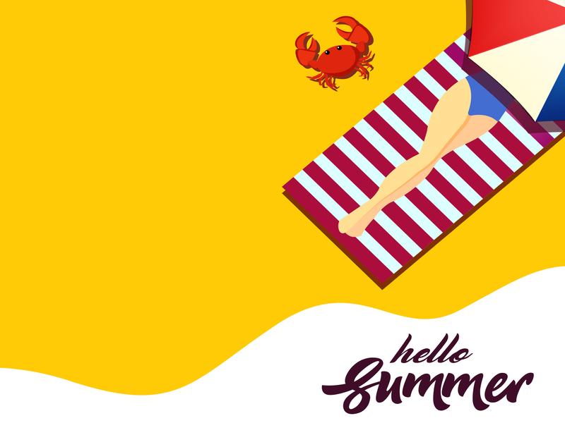 Hello Summer poster character typography advertising digitalartist beach summer minimal branding abstract advertisement illustrator vector creative design illustration
