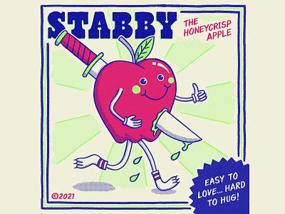 Stabby the Honeycrisp Apple lettering starburst knife graphic design illustration apple