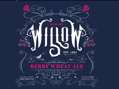Madame Willow victorian beer design typography branding