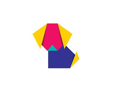 Oragami Dog oragami branding vector