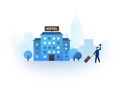 Hotel check-out business booking booker stay checkout hotel drawing illustration