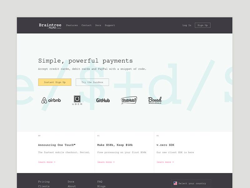 Braintree Homepage Redesign web minimal braintree simple code clean brand developer homepage website design