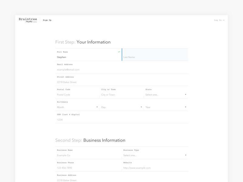 Braintree Sign Up signup input clean ui form minimal website web braintree