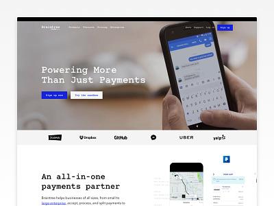 Braintree Homepage payments animation video developer brand clean code simple braintree website web homepage