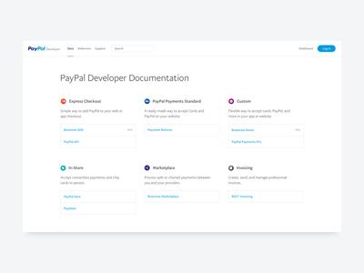 PayPal Developer Update web website docs documentation developer simple paypal minimal icons gradients