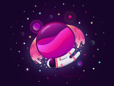 On Orbit glow planet astronaut web orbit space hello dribbble first shot debut vector illustration