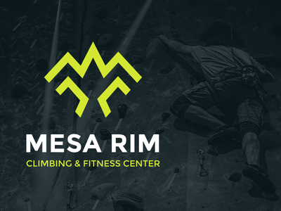 Mesa Rim Climbing   Fitness Center Logo Design monogram bird mountain icon strong brand design fitness climbing visual  identity identity brand identity typography branding logo