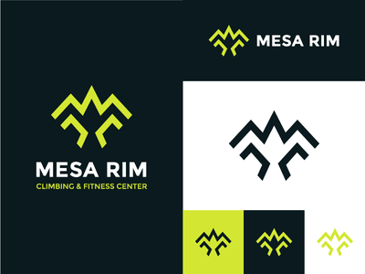 Mesa Rim Climbing   Fitness Center Logo Design  Logo Versions visual  identity typography strong mountain monogram icon logo identity design fitness branding climbing brand identity brand bird