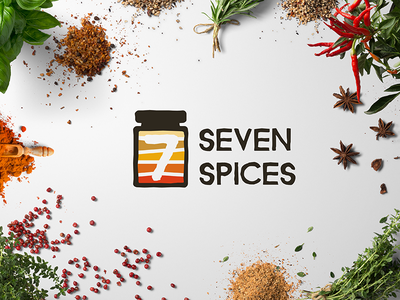Seven Spices strong brand restaurant spices seven 7 icon design brand identity logo