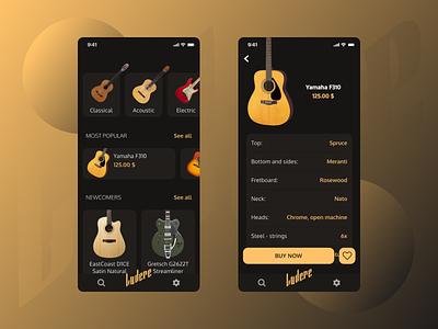 Guitar shop app - same typeface size typography app mobile design