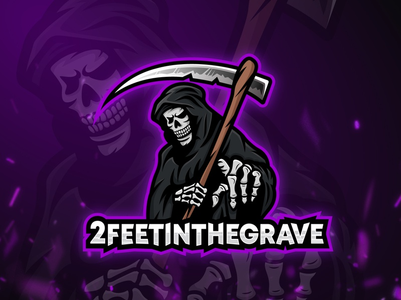 2feetinthegrave mascot logo esports gaming grim reaper mascot illustrator esport logo identity vector esport design illustration branding
