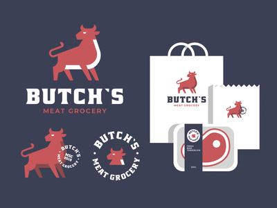 Butch's box brand identity brand ai illustrator graphic design cow bull steak beef meat store grocery icon logodesign logo design branding