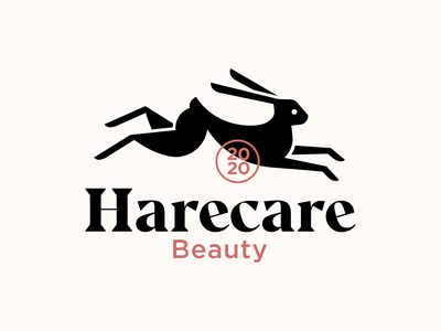 Harecare spa bunny rabbit beauty care typography vector logodesign logo design branding