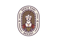 Dedis Puri beauty bread bakery mark badge icon girl face illustration vector logodesign logo design branding