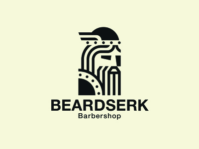 Beardserk viking man hair beard barbershop typography face illustration vector logodesign logo design branding