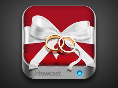Howcast Wedding App Icon wedding ring icon ios ipad iphone ribbon