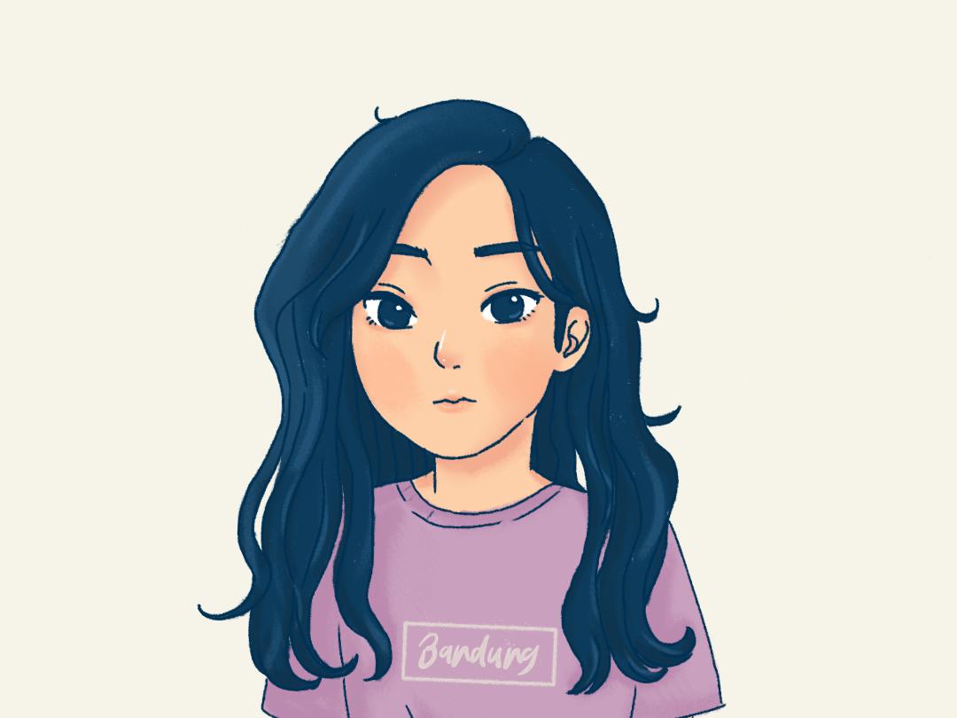 Blue characterdesign illustration longhair girls drawings artwork digitalart