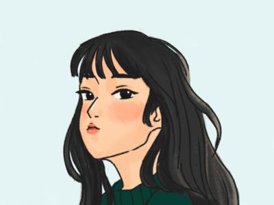 Girl in a green sweater