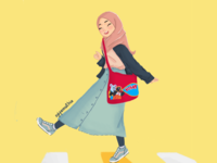 Cheerful hijabi character