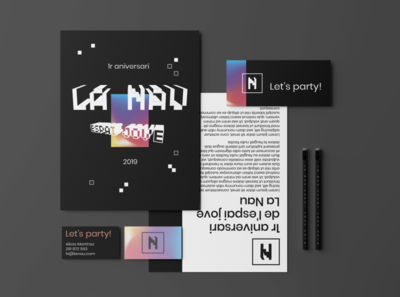 La Nau espai jove stationery logo brand concept design branding