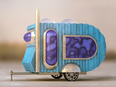 36 days of type - D illustration cgi realism caravan physical render 36 days of type letter d type cinema 4d