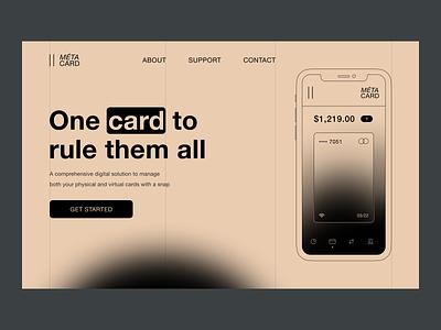 Landing — Méta Card webdesign ui fintech monochrome landing