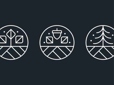 Seasonal Icons icons set linework line circle winter fall autumn spring pine acron leaf tree minimal simple seasons badge icons