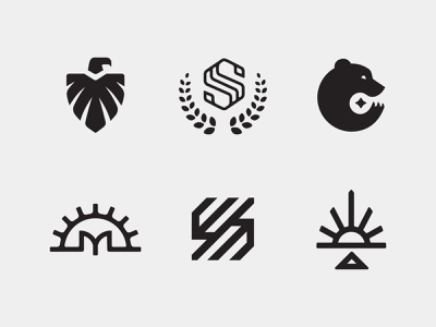 LogoLounge 12 arrowhead linework sun gear cog star claw bear badge laurel monogram s feathers animal bird eagle logomark logo mark