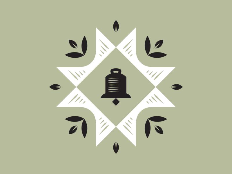 Dinner Bell quilt square branding dairy butter country ring quilt leaves woodcut bell brand logomark logo