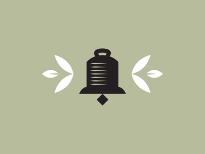 Dinner Bell country green leaves leaf woodcut bell branding brand logomark