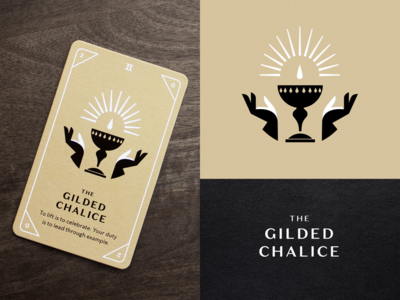 KNOCK Tarot  |  The Gilded Chalice mystic magic drop glow cup chalice hands foil stamp foil illustration playing card tarot card tarot card
